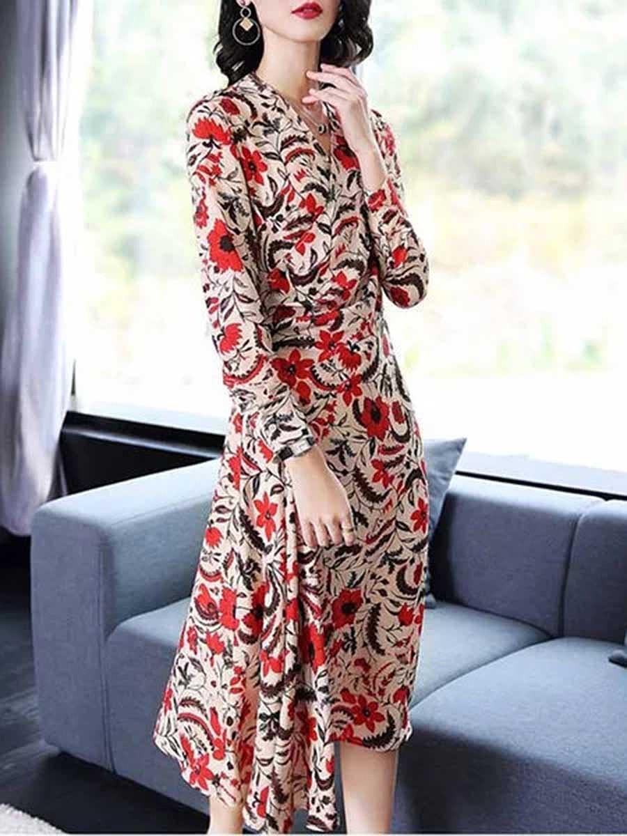 Surplice  Printed  Polyester Maxi Dress