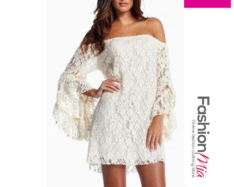 Off Shoulder  Plain Lace Shift Dresses