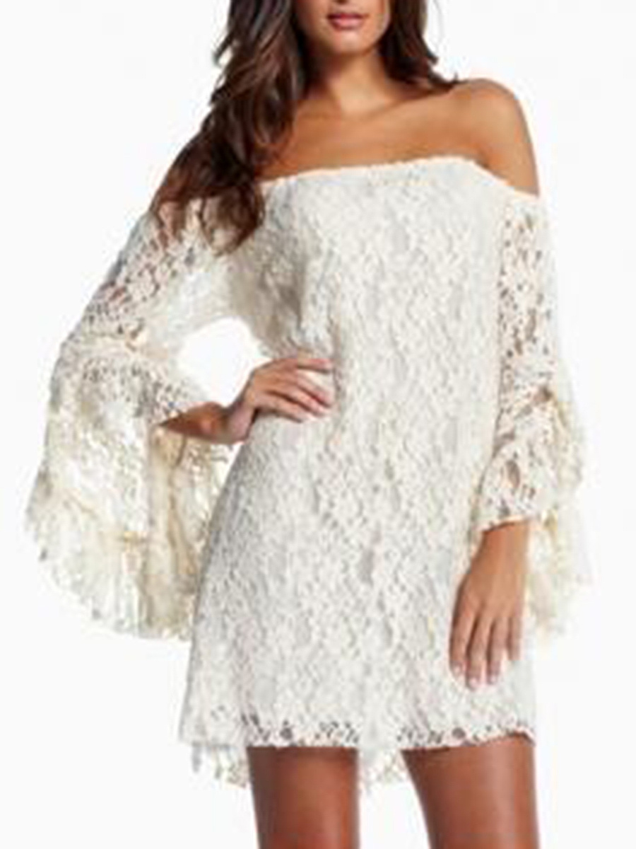 Off Shoulder  Plain Lace Shift Dresses