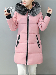 Hooded Pocket Letters Printed Longline Padded Coat