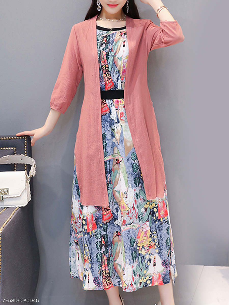 Round Neck  Elastic Waist Two-Piece  Printed Maxi Dress
