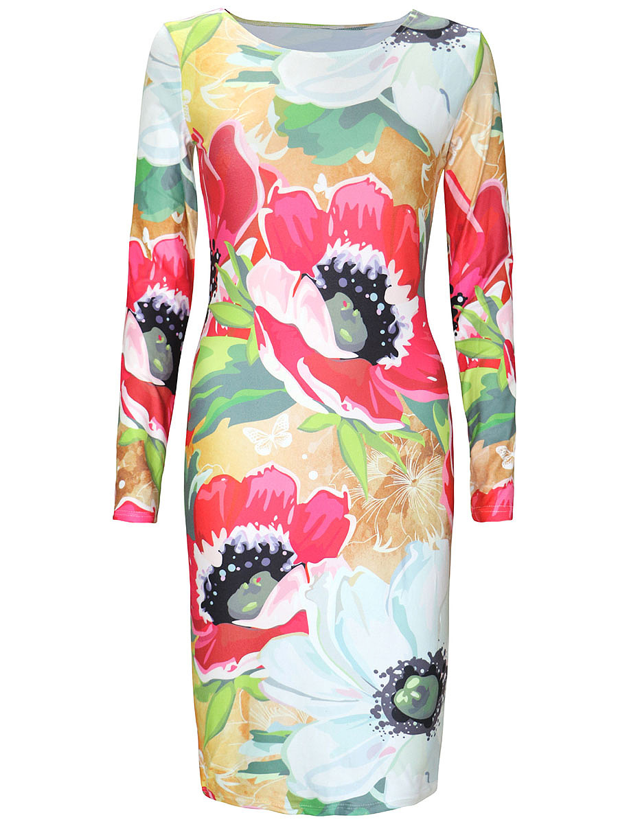 Designed Round Neck Printed Long Sleeve Bodycon Dress