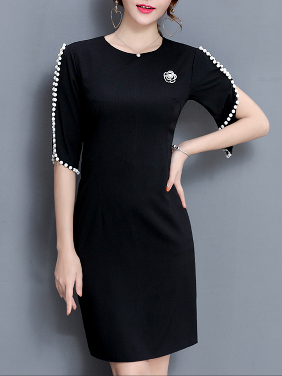 Open Shoulder Beading Slit Plain Brooch Bodycon Dress