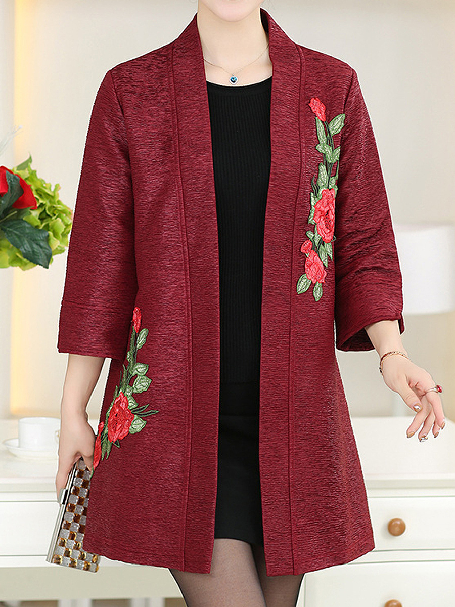 Collarless  Embroidery Applique Trench Coat