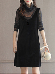High Neck Hollow Out Plain Velvet Shift Dress