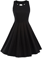 Round Neck Bowknot Back Hole Plain Skater Dress