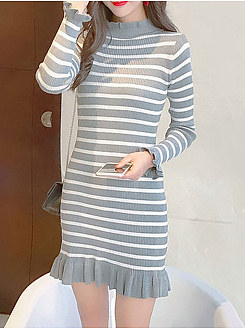 Band Collar Striped Ruffled Hem Knitted Bodycon Dress