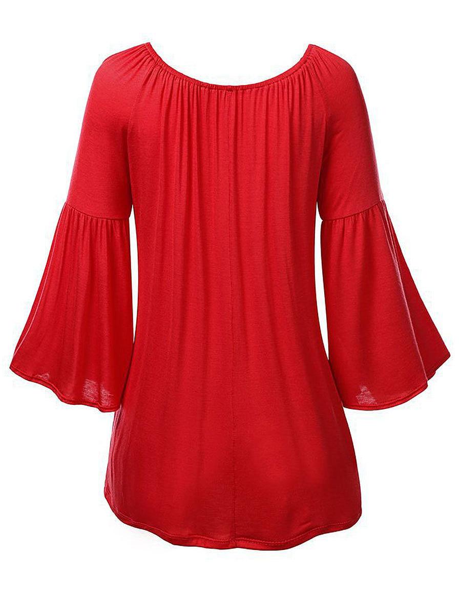 Autumn Spring  Polyester  Women  Round Neck  Plain  Bell Sleeve Long Sleeve T-Shirts