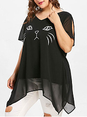 V-Neck  Asymmetric Hem  Cartoon Plain  Short Sleeve Plus Size Tops
