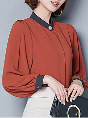 Band Collar  Beading Loose Fitting  Color Block  Kimono Sleeve Blouses
