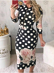 Round Neck  Floral Polka Dot Printed Bodycon Dress