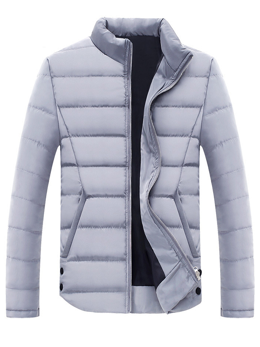 Band Collar Pocket Quilted Plain Men Padded Coat