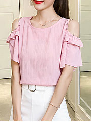 Summer  Cotton  Women  Open Shoulder  Beading  Plain  Batwing Sleeve  Short Sleeve Blouses