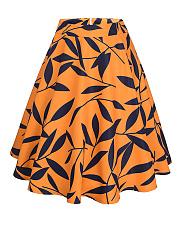 Leaf-Printed-Flared-Swing-Midi-Skirt