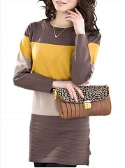 Round Neck  Color Block Knit Pullover