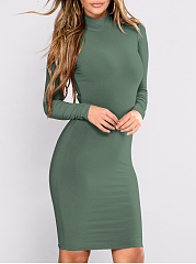 Band Collar  Lightweight  High Stretch  Plain Bodycon Dress