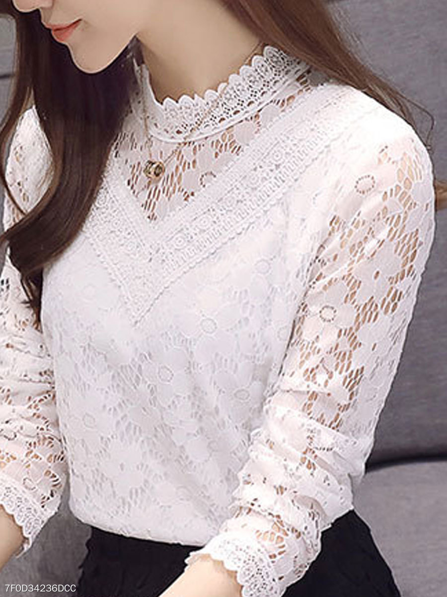 Autumn Spring  Lace  Women  Round Neck  See-Through  Floral  Long Sleeve Blouses