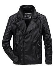 Lapel-Fleece-Lined-Zips-Pocket-Plain-Men-PU-Leather-Jacket