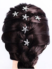 New Starfish Rhinestone Long Hair Clip Sets