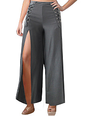 High Slit Lace-Up Plain Wide-Leg Casual Pants