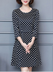 Polka Dot Half Sleeve Round Neck Skater Dress