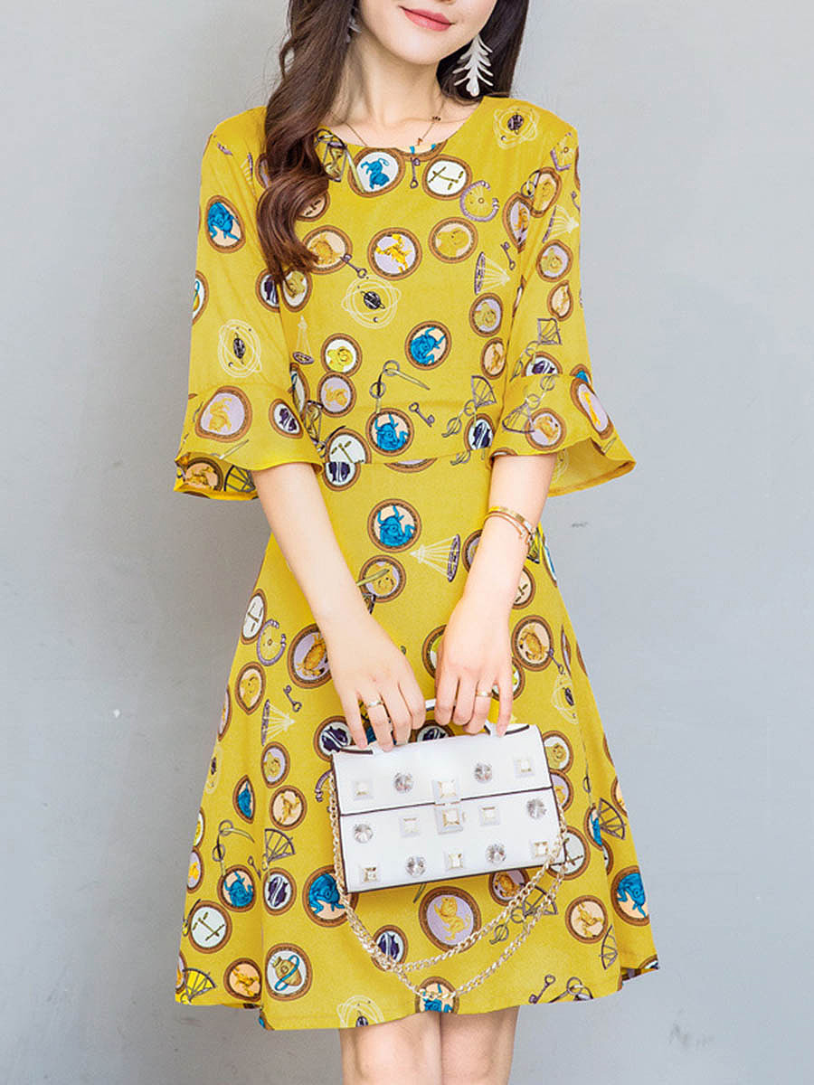 Round Neck Bell Sleeve Printed Skater Dress