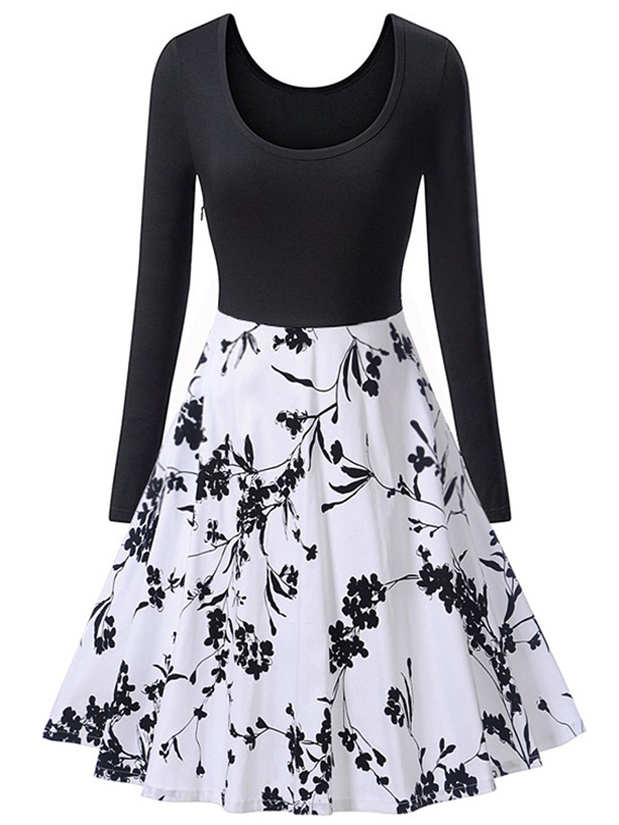Black White Printed Round Neck Skater Dress