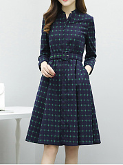 Split Neck Plaid Belt Pocket Skater Dress
