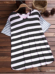 Spring Summer  Polyester  Women  V-Neck  Striped Short Sleeve T-Shirts