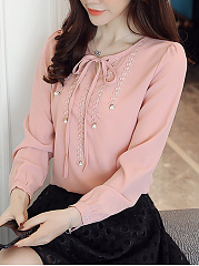 Tie Collar  Beading  Plain Blouse