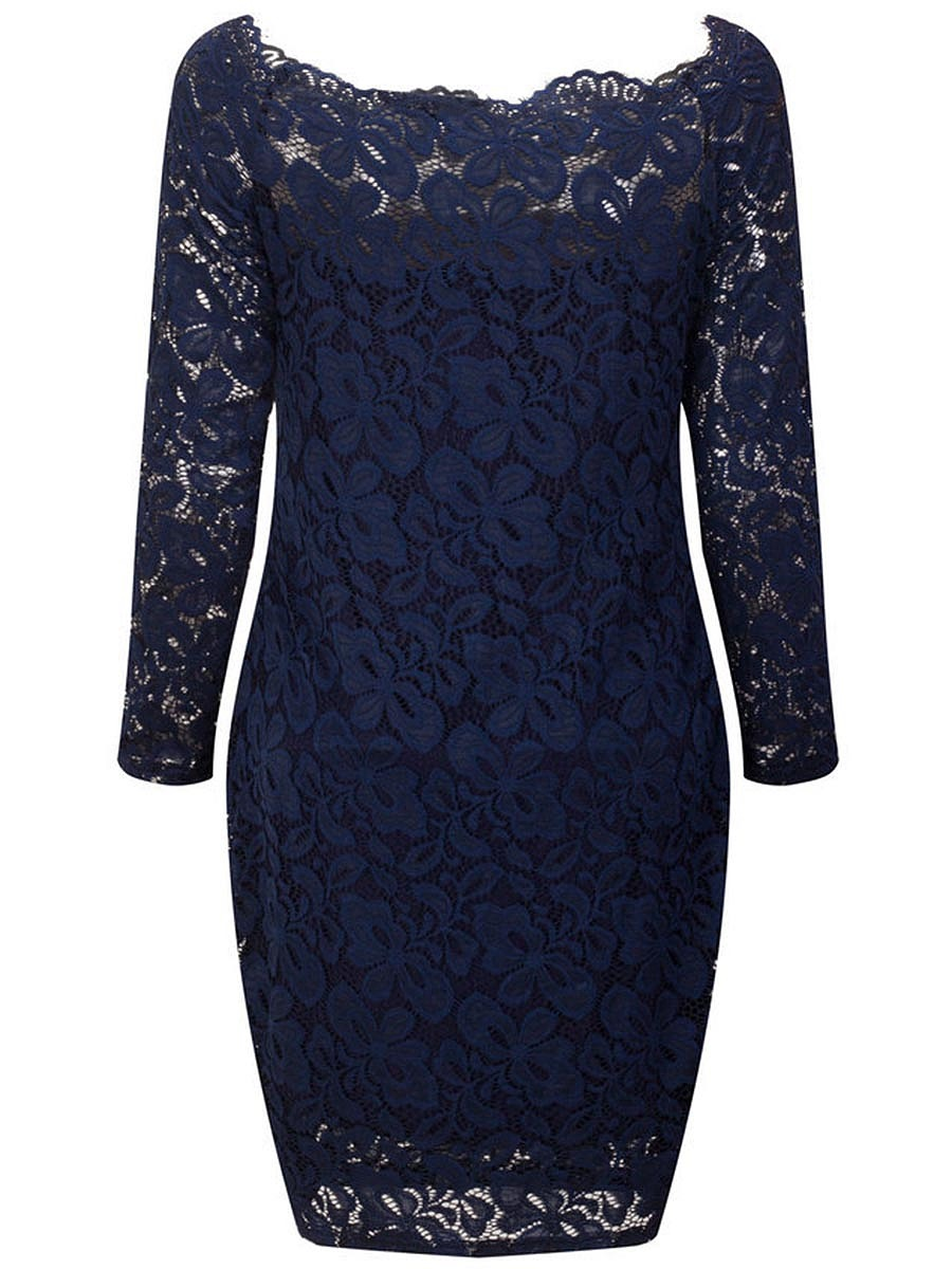 Scallop Off Shoulder Hollow Out Plain Lace Bodycon Dress