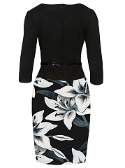 Elegant Floral Printed Belt Bodycon Dress