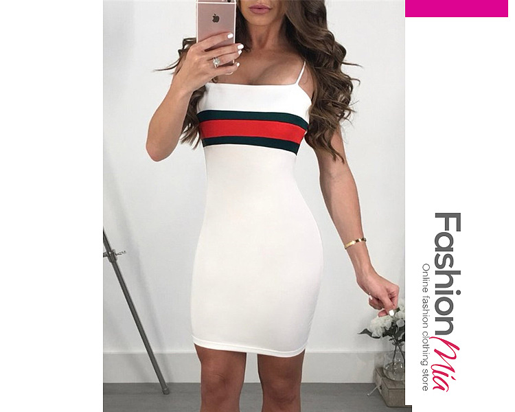 Spaghetti Strap Color Block Fashion Bodycon Dresses