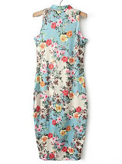 Band Collar  Floral Bodycon Dress