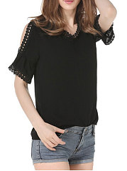 Summer  Polyester  Women  V-Neck  Decorative Lace  Plain  Short Sleeve Blouses