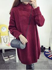 Loose-High-Neck-Plain-Longline-Sweater