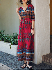 V-Neck  Belt  Abstract Print Printed Maxi Dress