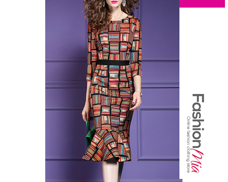 thickness:regular, brand_name:fashionmia, style:western, material:blend, collar&neckline:round neck, sleeve:three-quarter sleeve, pattern_type:abstract print, length:knee-length, how_to_wash:cold  hand wash, supplementary_matters:all dimensions are measured manually with a deviation of 2 to 4cm.,the fabric is slightly elastic., occasion:daily,date, season:autumn,winter, dress_silhouette:mermaid, package_included:dress*1, lengthsleeve lengthbustwaisthip