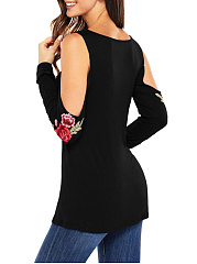 Open Shoulder Embroidery Long Sleeve T-Shirt