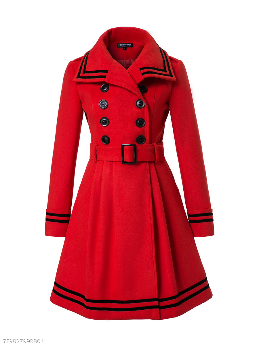 Lapel  Double Breasted  Belt  Striped Woolen Coats