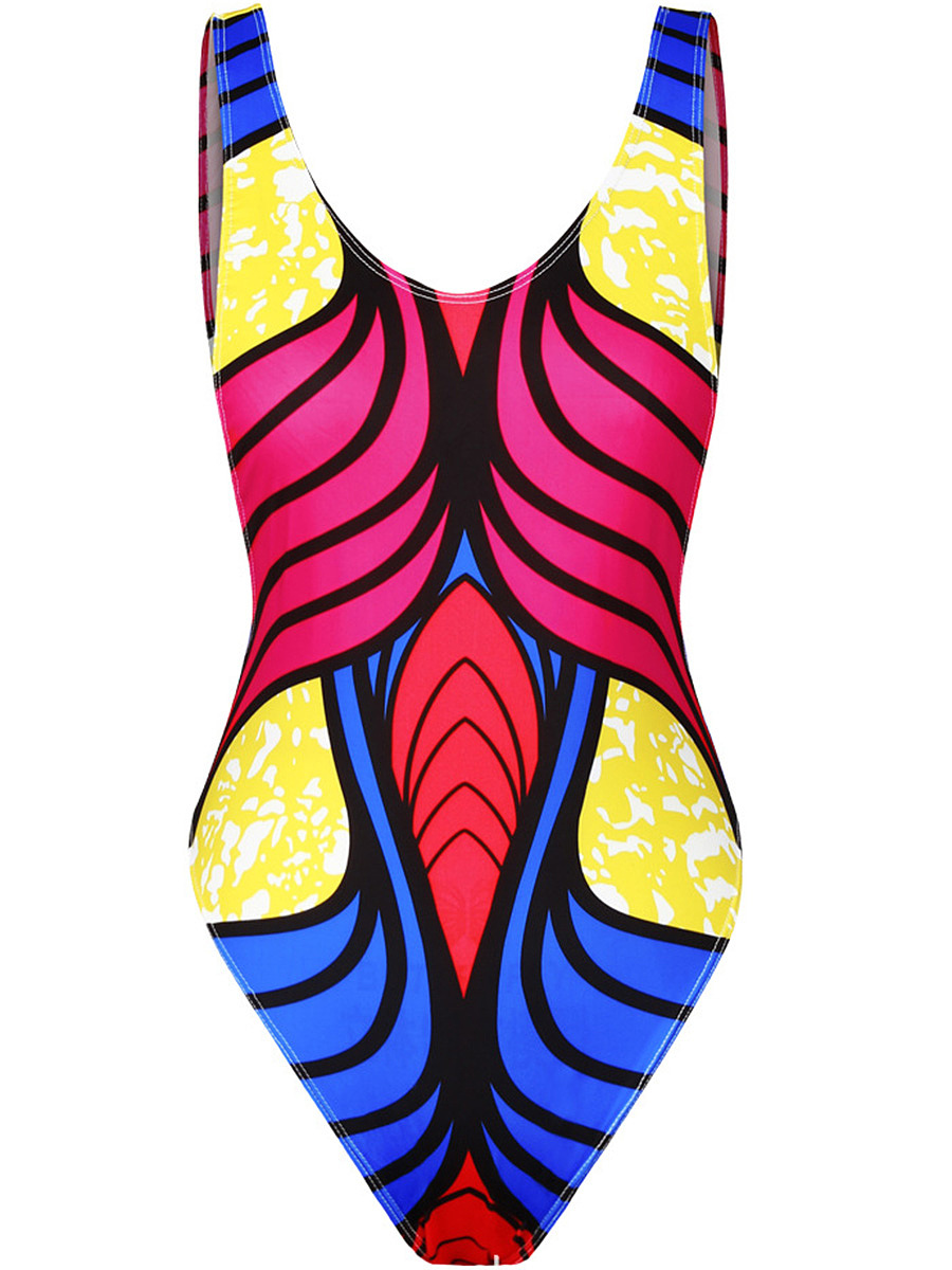Color Block Printed One Piece With Scoop Neck And Back