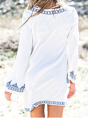 White Plain  Long Sleeve Tunic For Women