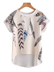 Summer  Polyester  Women  Round Neck  Asymmetric Hem  Floral Feather Printed  Short Sleeve Blouses