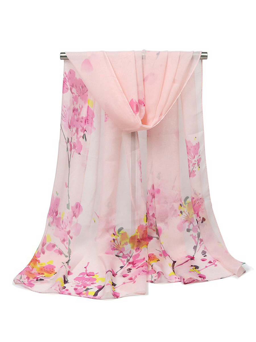 Plum Painting Printed Long Scarf