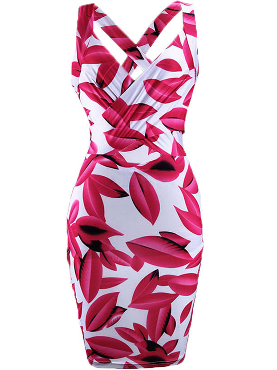 Captivating Leaf Printed X-Back Sweet Heart Bodycon Dress