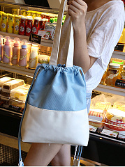 Candy Color Pu Patchwork Big Capacity Shoulder Bag