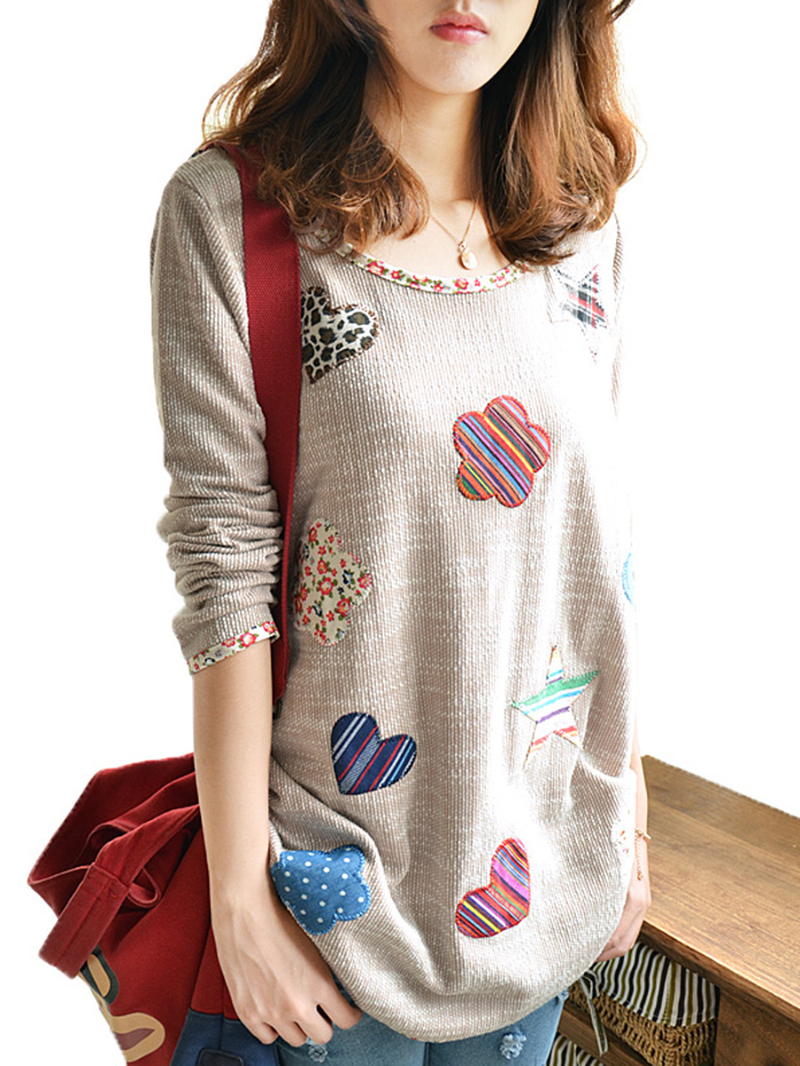 Lovely Decorative Patch Contrast Trim Long Sleeve T-Shirt