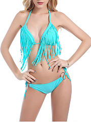 Halter  Drawstring Fringe  Decorative Hardware  Plain Bikini