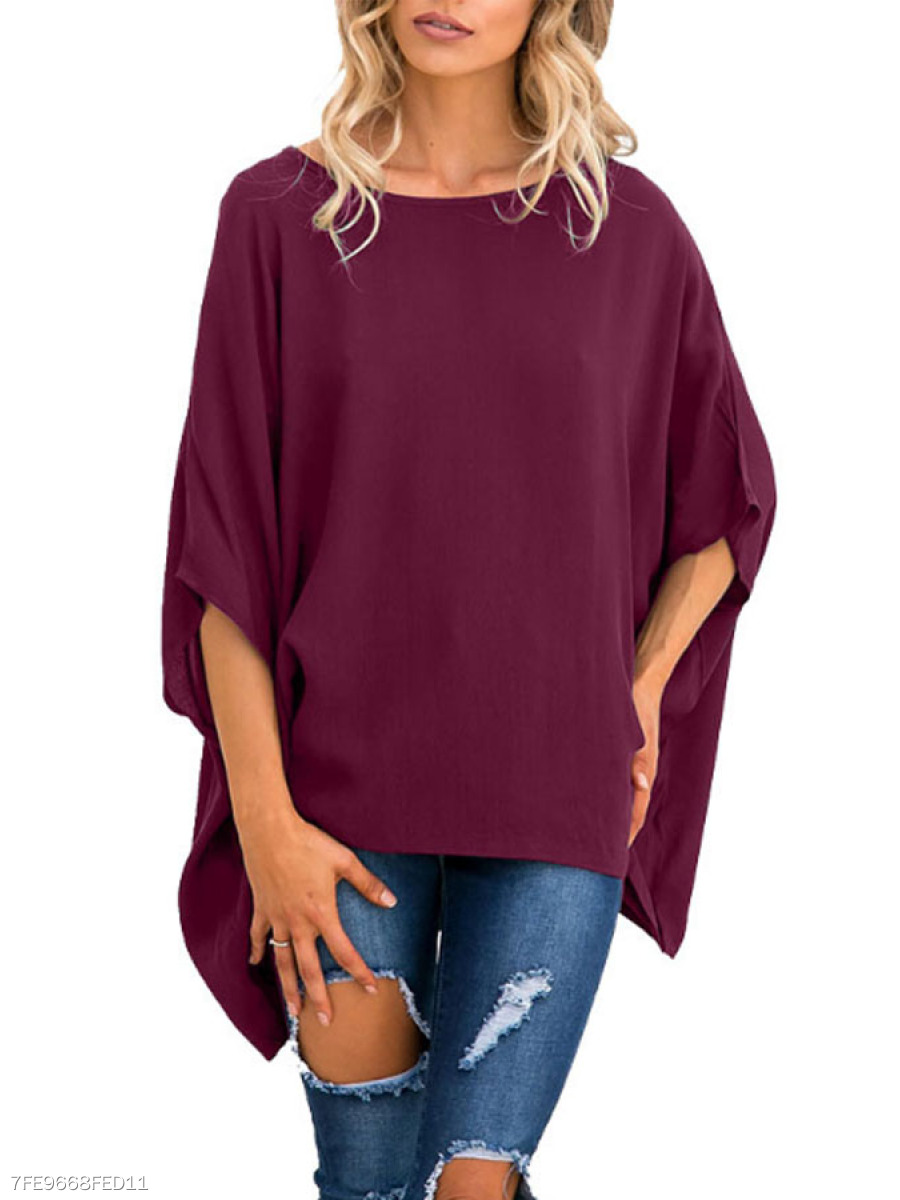 Autumn Spring  Polyester  Women  Round Neck  Asymmetric Hem  Plain Long Sleeve T-Shirts