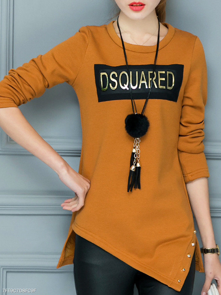 Autumn Spring Winter  Cotton  Women  Round Neck  Asymmetric Hem  Letters T-Shirts